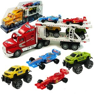 High Powered Truck! Strong Power Truck Series Auto Carrier W/4 Cars Toy for Kids (Colors May Vary) by MK Trading
