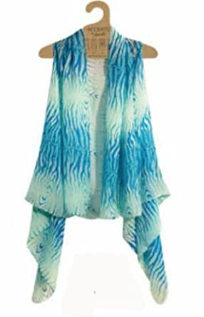 Accents by Lavello Sheer Designer Vest, Aqua / Turquoise, Zebra Print