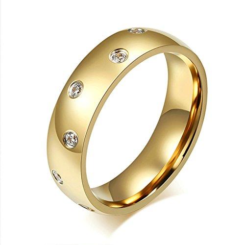 Bishilin Acciaio Inossidabile 18K Oro Placcato 6MM Donna Anelli Promessa Matrimonio con Cubi Zirconio Misura 27