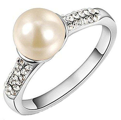 alimab-placcato oro 18K Donna Anelli Wedding Bands cerchio perla rotonda, Lega, 17, colore: bianco, cod. xxjiezhityix1281