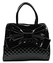 Hot Sale Scarleton Quilted Patent Faux Leather Satchel H104801 - Black