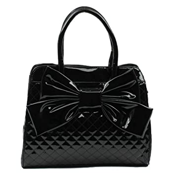 Scarleton quilted patent faux leather satchel H104801 - Black. Please note: actual color may vary from picture due to computer settings.