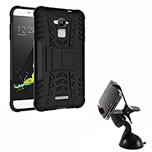 Aart Hard Dual Tough Military Grade Defender Series Bumper back case with Flip Kick Stand for CoolPad Dezone Note3 + Car Mobile Holder Mount Bracket Holder Stand 360 Degree Rotating by Aart store.