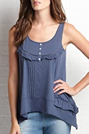 Indigo Collection Pure Cotton Ruffle Hem Vest Top [T41-5009B-S]