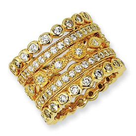 Genuine IceCarats Designer Jewelry Gift Gold-Plated Sterling Silver Cz Eternity Five Ring Set Size 6.00