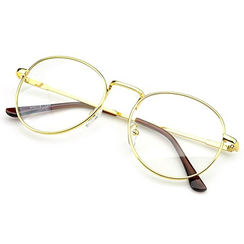 PenSee Large Oversized Metal Frame Clear Lens Round Circle Eye Glasses (Gold) (Round Vintage Glasses compare prices)