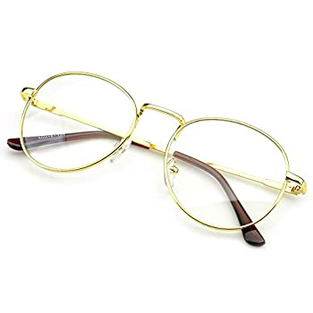 PenSee Oval Classic Retro Metal Frame Clear Lens Round Circle Eye Glasses