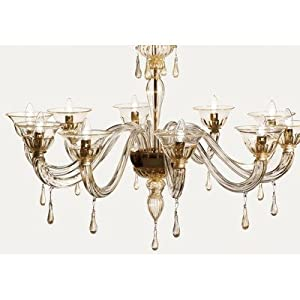 7084 Chandelier Size / Shade / Dropper Colour: 80cm H x 80cm Dia /Fume with Fume/Gold Decorations :: Best Buy