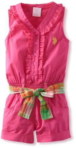 U.S. Polo Assn. Girls 26X Ruffled ButtonUp Romper, Pink Peak, 4T Picture