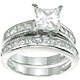 Princess Cut Cubic Zirconia CZ Wedding and Engagement Ring Set in Sterling Silver Size 8