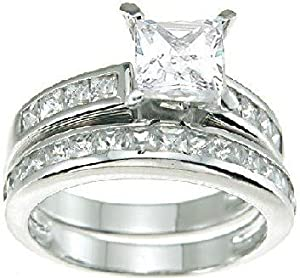 Princess Cut Cubic Zirconia CZ Wedding and Engagement Ring Set in Sterling Silver Size 6 (Sizes 5-12 Available)