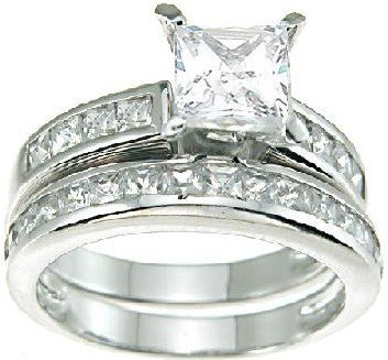 Princess Cut Cubic Zirconia CZ Wedding and Engagement Ring Set in Sterling Silver Size 5 (Sizes 5-12 Available)
