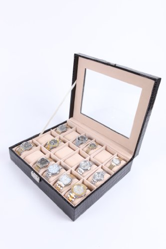18 Watch Display Box Case Faux Crocodile Skin Leather (With Love From FlissyTM©)
