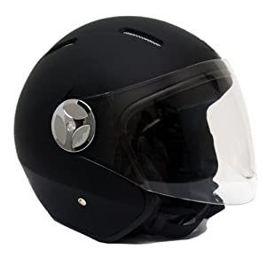 Motorcycle Scooter PILOT Open Face Helmet DOT - Matte Finish Black 2X-LARGE