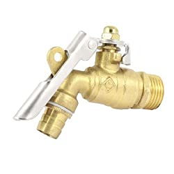 Garden 1/2PT Male Thread Locked Handle Water Tap Faucet Gold Tone