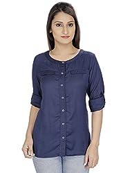Franclo women's Formal Shirt (Blue, Medium)
