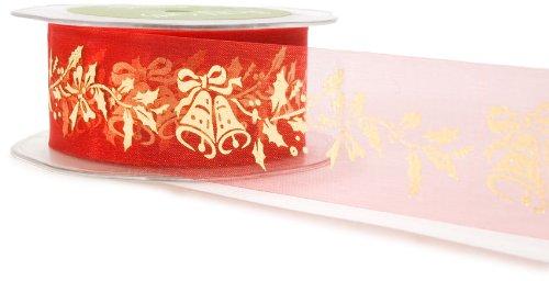 May Arts 1-1/2-Inch Wide Ribbon, Sheer Red Holiday Print