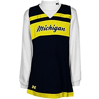 NCAA adidas Michigan Wolverines Infant Girls 2-Piece Turtleneck & Cheerleader Dress Set - Navy Blue/White (24 Months)