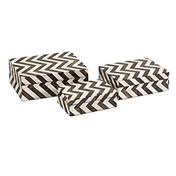 "CC Home Furnishings Set of 3 White Bone Inlay & Brown Chevron Pattern Decorative Storage Boxes 8.5"""