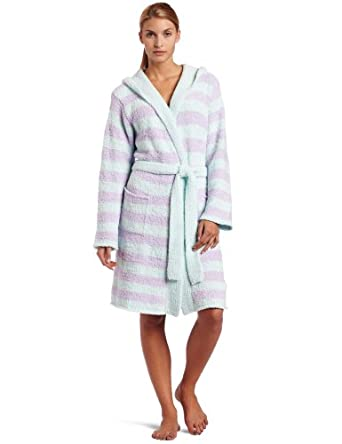 Casual Moments Women's Marshmallow Hooded Wrap Robe, Blue/Lavender, Small