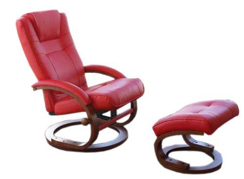 Fernsehsessel Relaxsessel Sessel Pescatori, Kunstleder, mit Hocker ~ rot