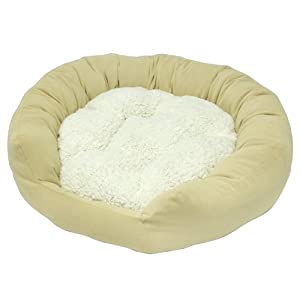 Happy Hounds Murphy Donut Small 24-Inch Dog Bed, Cream