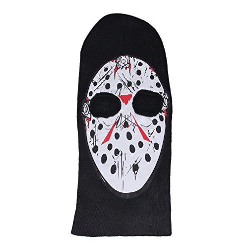 Bigood 2 hole Knit Skull Cap Ghost Face Mask Beanie Men Hat