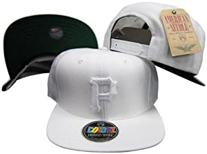 Pittsburgh Pirates White on White Plastic Snapback Adjustable Snap Back Hat Cap by American Needle
