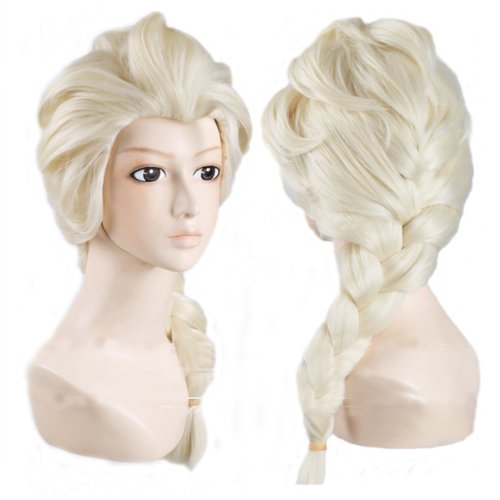 Long Women's Braided Ponytail Prestyled Cosplay Costume Wig - Perfect for Frozen's Elsa