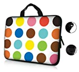 17 17.3 inch Multi Dot Design Laptop Sleeve with Hidden Handle & D Ring Hook Eyelets for Shoulder Strap Bag Carrying Case for Apple Macbook, Acer, Asus, Dell, Hp, Sony, Toshiba, and 17