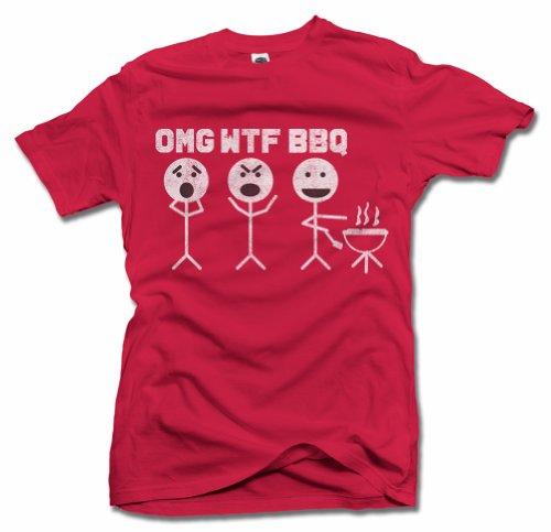 Omg Wtf BBQ T-Shirt L Red Men'S Tee (6.1Oz)