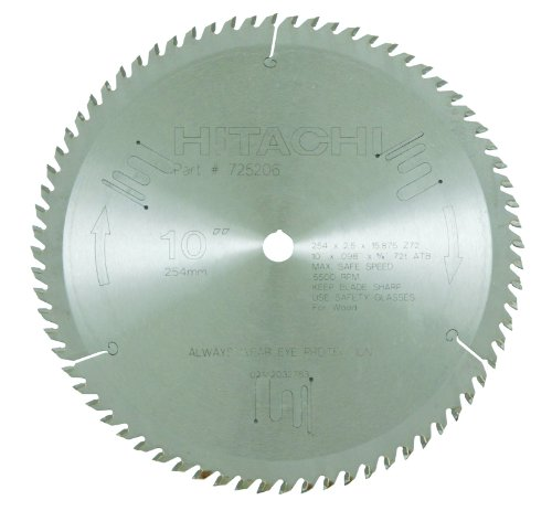 Hitachi 725206 72-Teeth Tungsten Carbide Tipped 10-Inch ATB 5/8-Inch Arbor Finish Saw Blade