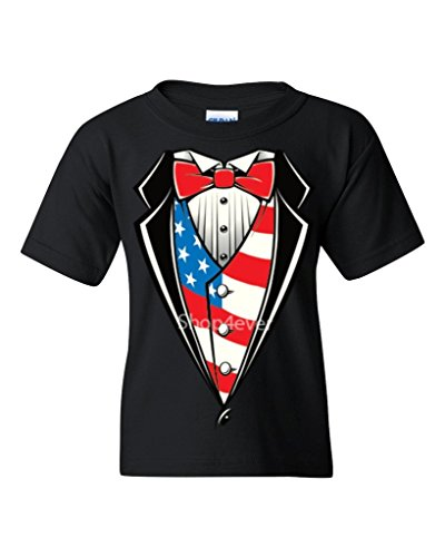Tuxedo Costume USA Flag Youth's T-Shirt Funny Tux Shirts