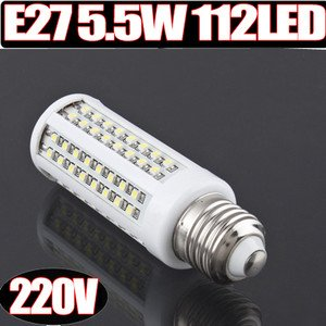 E27 5.5W 112 Smd Led 112Led Light Bulb Lamp Lampe 200-230V 220V Warm White Weiß