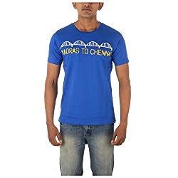 Chennai Gaga Men's Round Neck Cotton T-shirt Madras To Chennai 112-3-811-Franceblue-L