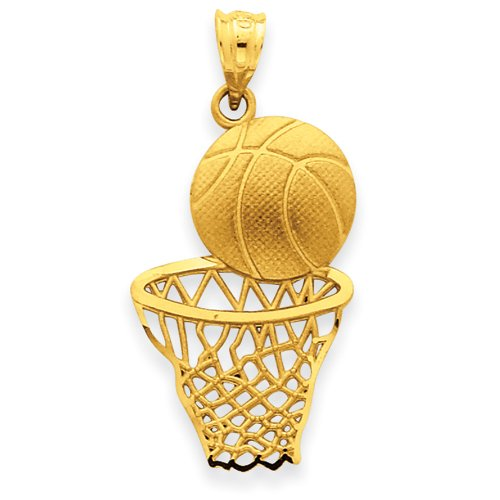 14k Satin Diamond-cut Basketball & Net Pendant