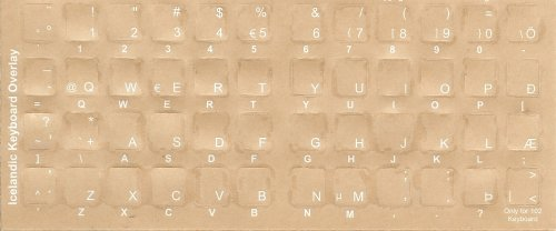 Icelandic Keyboard Stickers - Labels - Overlays With White Characters For Black Computer Keyboard