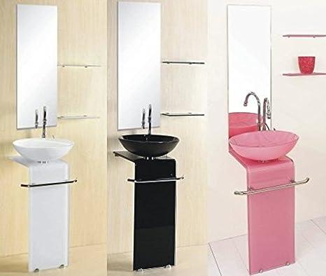 Mobile Arredo Bagno moderno in cristallo blu rosso rosa giallo nero bianco con mensole Mobili