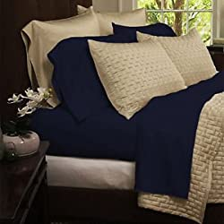 Bamboo Comfort Sheet Set - King Size 4pc Set -Wrinkle Free - Eco Friendly (King, Navy)