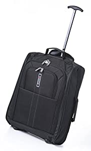5 Cities Cabin-Sized Trolley Hand Luggage Bag/ Holdall, 33 Liters, Black