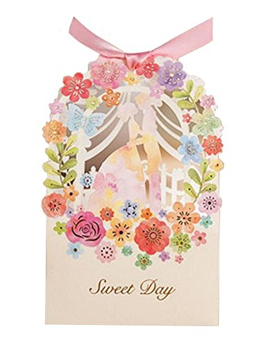 Finex® 100 pcs Premium Korean Wedding Design *Bride and Groom with Spring Flower Wreath* Party Favors Candy Boxes with Pre-cut Ribbons *Hollow Carved Laser Die Cut Gold Foil Embossing*