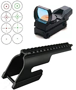 Ultimate Arms Gear Hard Anodized Machined Lightweight Aluminum No Gunsmithing Remington 870 12 Gauge Shotgun & Compatible See Through Saddle Scope Sight Weaver Picatinny Rail Mount + Tactical 4 Reticle Red & Green Dot Open Reflex Sight with Weaver-Picatinny Rail Mount