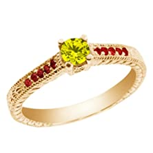 buy 0.35 Ct Round Canary Diamond Red Garnet 18K Yellow Gold Engagement Ring