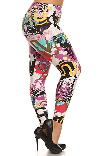 Leggings Depot New Women's Popular BEST Printed Plus Size Fashion Leggings (Abstract Element)