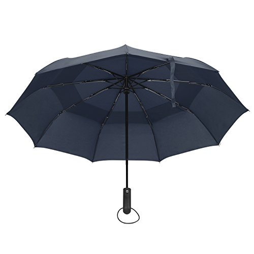 Vanwalk®自動開閉折り畳み傘 9本骨 通風孔付き 二重の耐風傘115cm (ブルー)