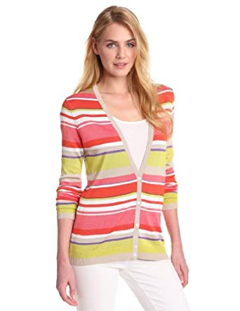 Anne Klein Women's Petite Stripe Long Sleeve V-Neck Cardigan, Carnelian Multi, Medium