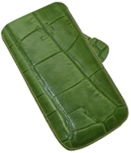 Original Suncase ® / Custom made for Apple iPhone 4 - 4S - 4 S / Genuine Leather Case / Cover / Quality Slip Pouch / Soft Phone Bag / with Pull Tab (Premium Quality) croco-green