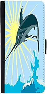 Snoogg Blue Marlin Fish Jumping Retrodesigner Protective Flip Case Cover For ...