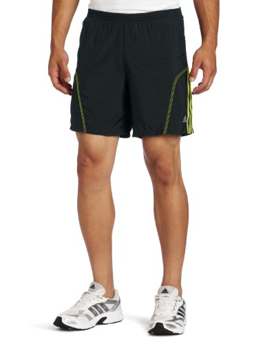 adidas adidas Men's Response Drei Streifen 7-Inch Baggy Short, Tech Onix/Lab Lime, Small