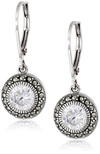Judith Jack Sterling Silver, Cubic Zirconia, and Marcasite Drop Earrings (Judith Jack Marcasite Jewelry compare prices)